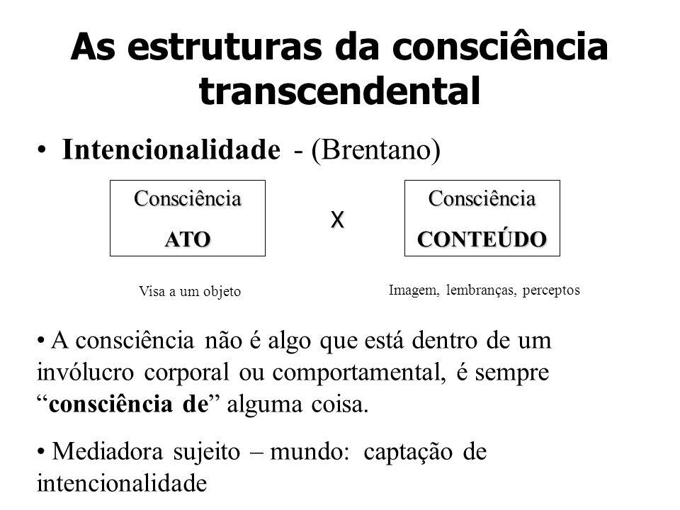 As estruturas da consciência transcendental Intencionalidade - (Brentano) ConsciênciaATOConsciênciaCONTEÚDO Visa a um objeto Imagem, lembranças, perce
