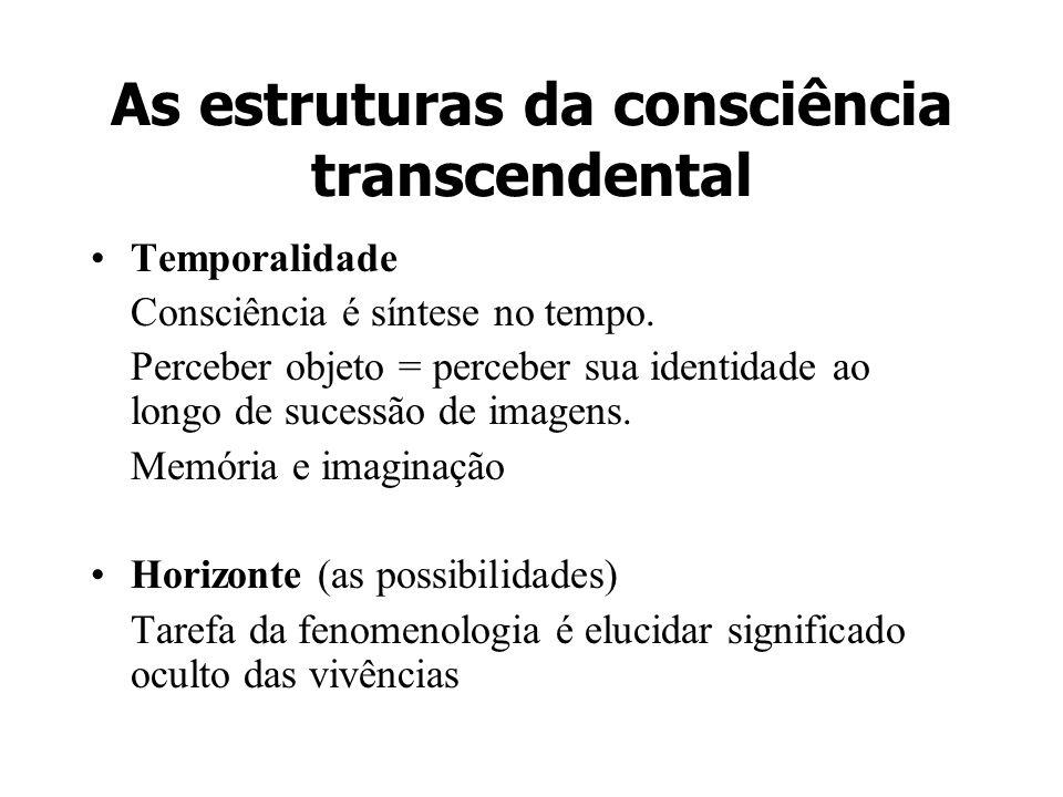 As estruturas da consciência transcendental Temporalidade Consciência é síntese no tempo. Perceber objeto = perceber sua identidade ao longo de sucess