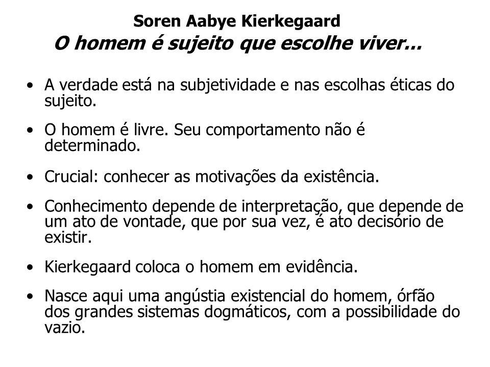 Soren Aabye Kierkegaard O homem é sujeito que escolhe viver... A verdade está na subjetividade e nas escolhas éticas do sujeito. O homem é livre. Seu