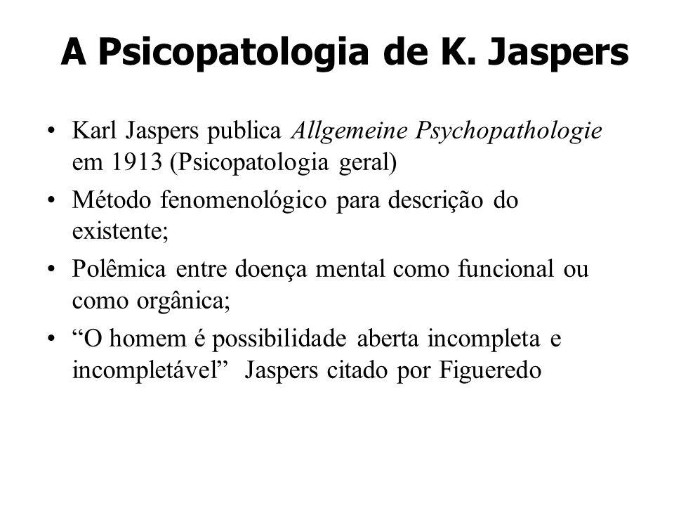 A Psicopatologia de K. Jaspers Karl Jaspers publica Allgemeine Psychopathologie em 1913 (Psicopatologia geral) Método fenomenológico para descrição do