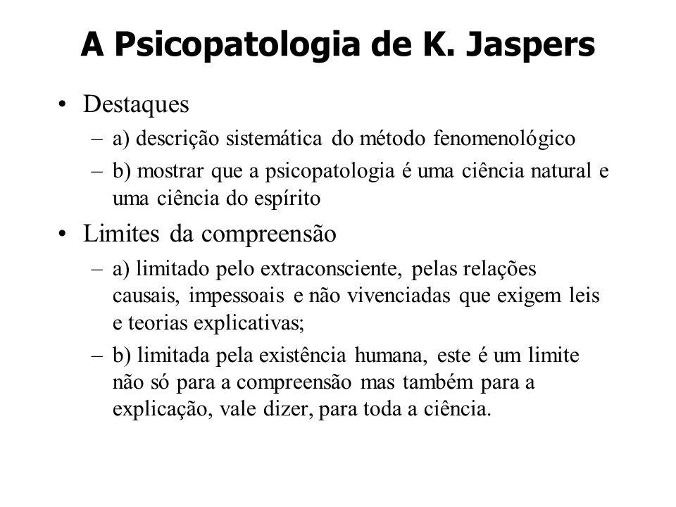 A Psicopatologia de K. Jaspers Destaques –a) descrição sistemática do método fenomenológico –b) mostrar que a psicopatologia é uma ciência natural e u