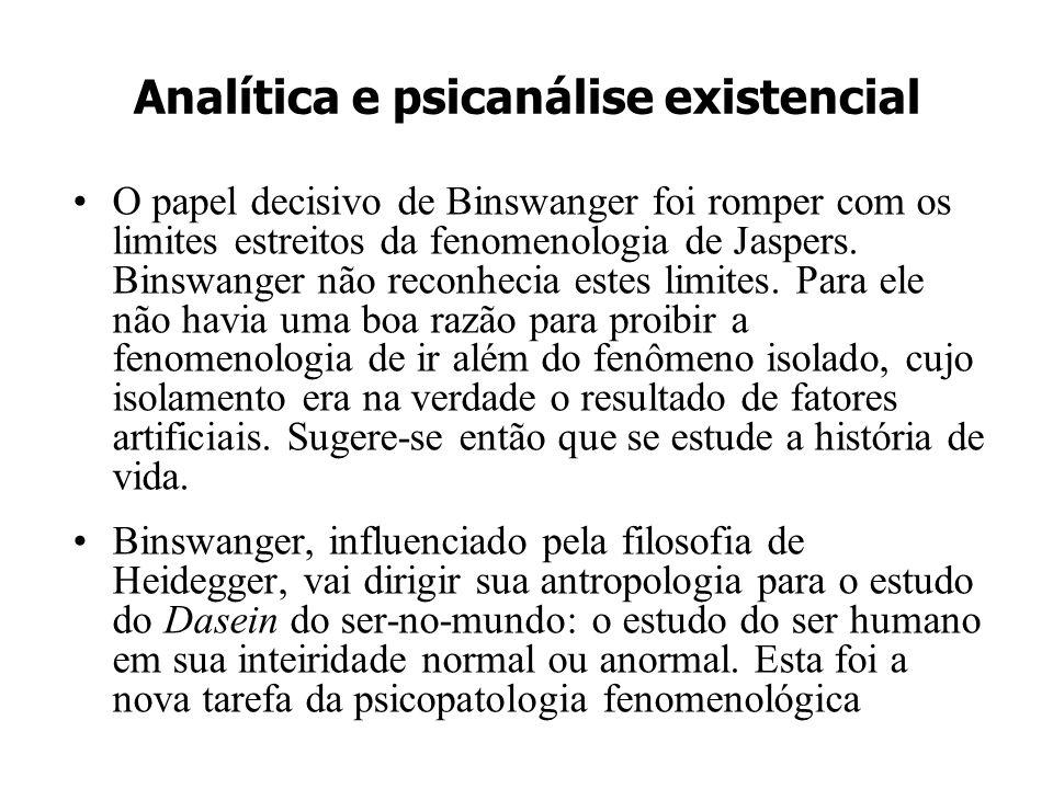 Analítica e psicanálise existencial O papel decisivo de Binswanger foi romper com os limites estreitos da fenomenologia de Jaspers. Binswanger não rec