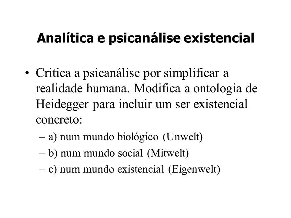 Analítica e psicanálise existencial Critica a psicanálise por simplificar a realidade humana. Modifica a ontologia de Heidegger para incluir um ser ex