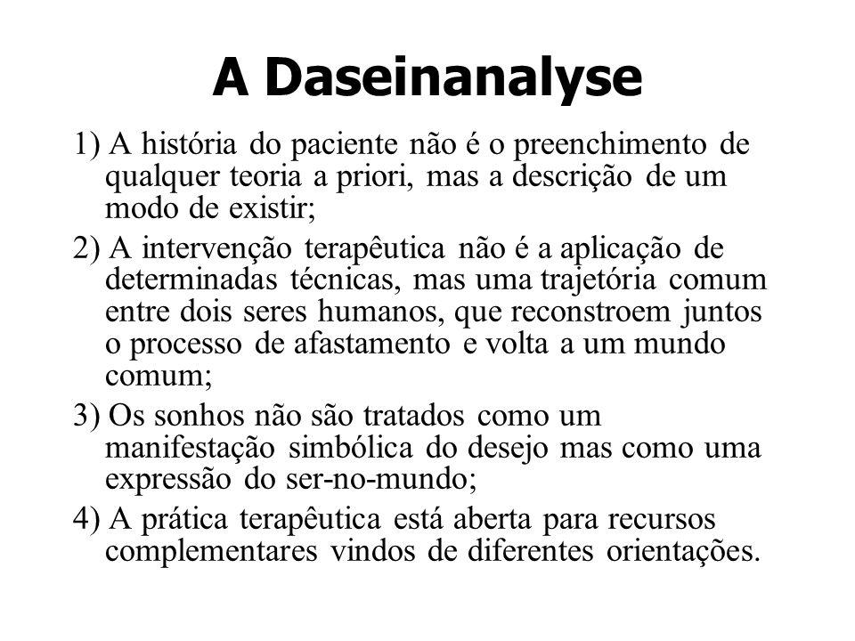 A Daseinanalyse 1) A história do paciente não é o preenchimento de qualquer teoria a priori, mas a descrição de um modo de existir; 2) A intervenção t