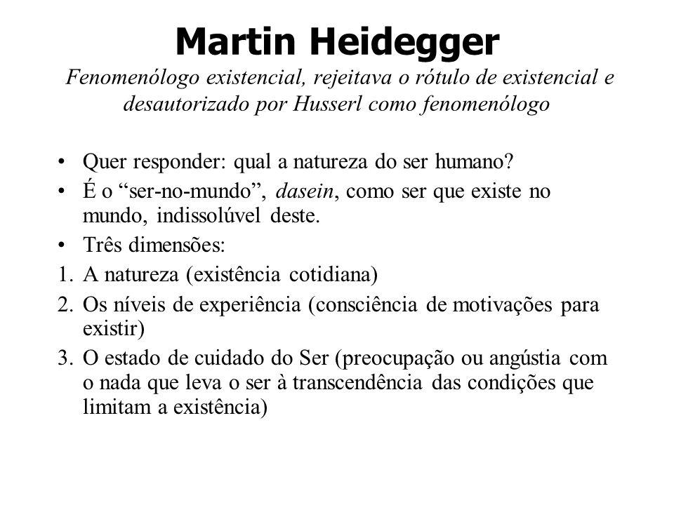 Martin Heidegger Fenomenólogo existencial, rejeitava o rótulo de existencial e desautorizado por Husserl como fenomenólogo Quer responder: qual a natu