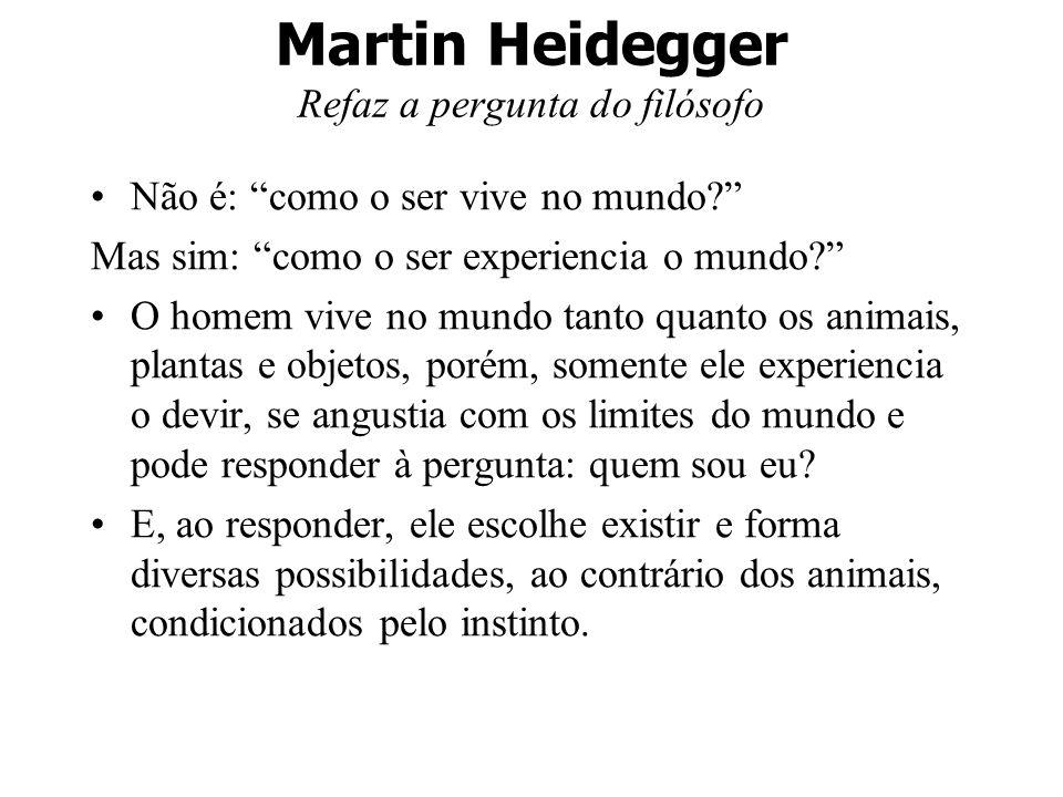 Martin Heidegger Refaz a pergunta do filósofo Não é: como o ser vive no mundo? Mas sim: como o ser experiencia o mundo? O homem vive no mundo tanto qu