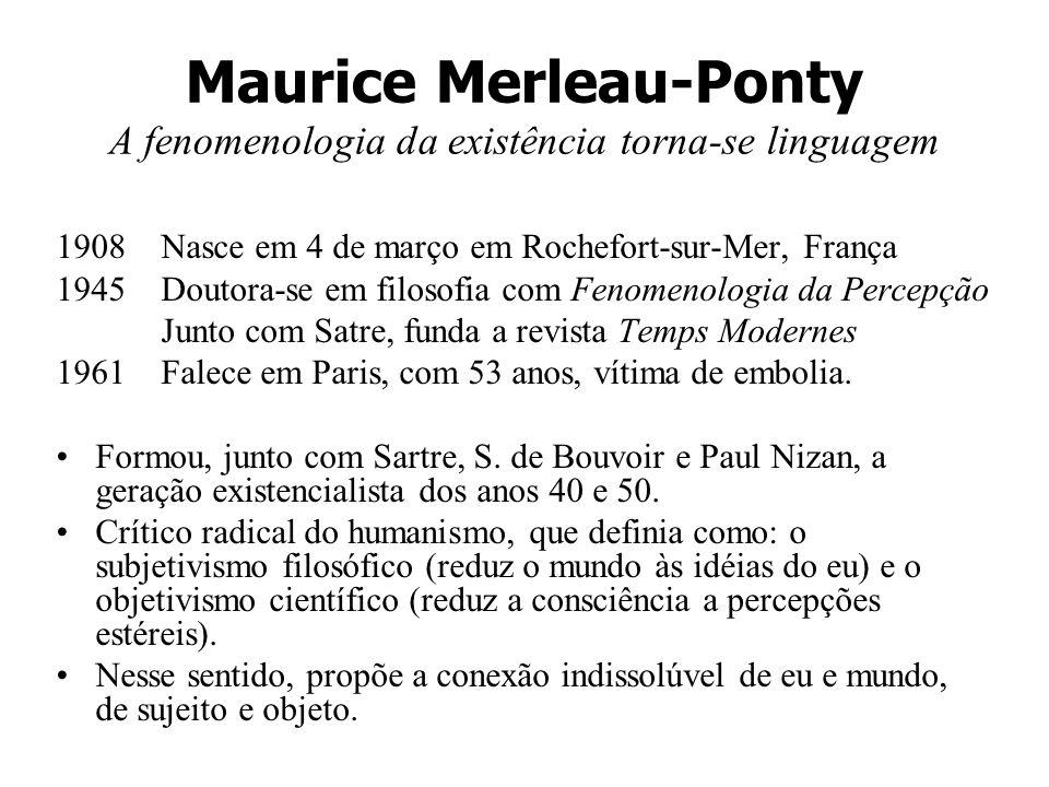 Maurice Merleau-Ponty A fenomenologia da existência torna-se linguagem 1908Nasce em 4 de março em Rochefort-sur-Mer, França 1945Doutora-se em filosofi