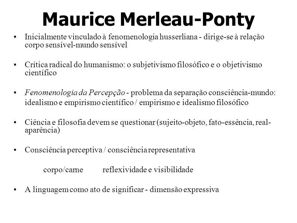 Maurice Merleau-Ponty Inicialmente vinculado à fenomenologia husserliana - dirige-se à relação corpo sensível-mundo sensível Crítica radical do humani