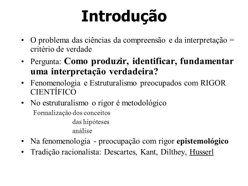 Introdução O problema das ciências da compreensão e da interpretação = critério de verdade Pergunta: Como produzir, identificar, fundamentar uma inter