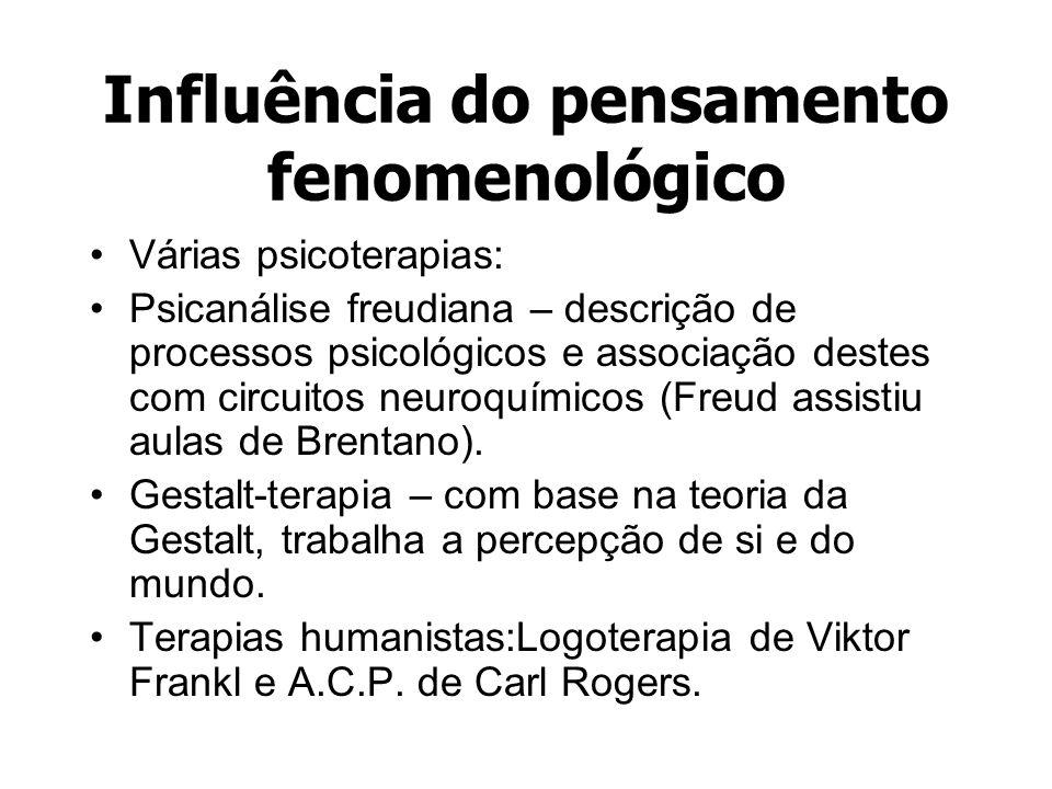 Influência do pensamento fenomenológico Várias psicoterapias: Psicanálise freudiana – descrição de processos psicológicos e associação destes com circ