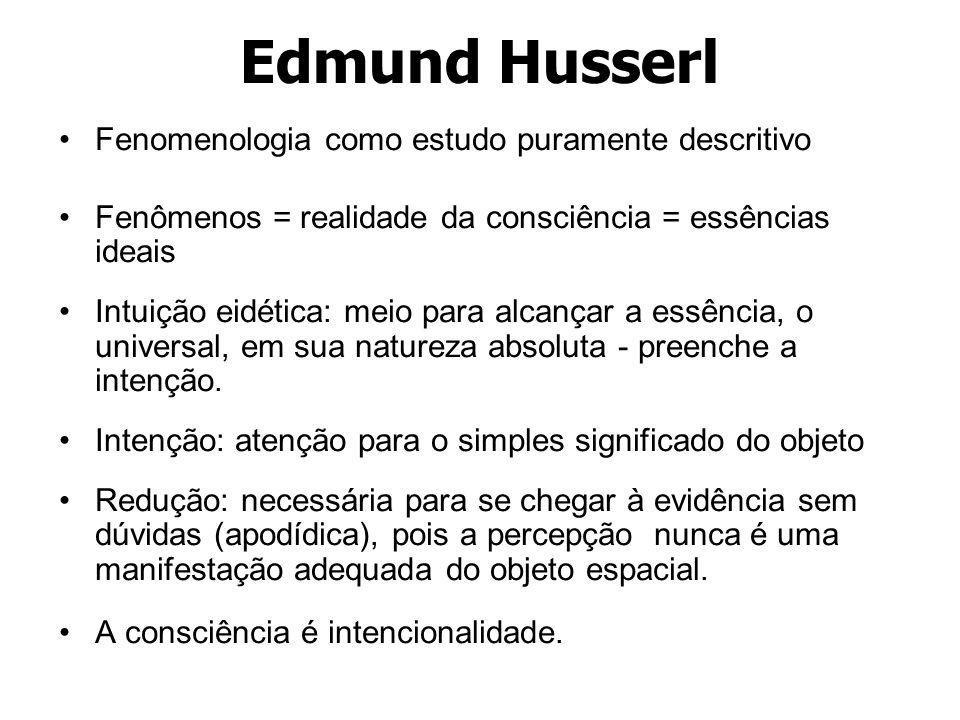 Edmund Husserl Fenomenologia como estudo puramente descritivo Fenômenos = realidade da consciência = essências ideais Intuição eidética: meio para alc