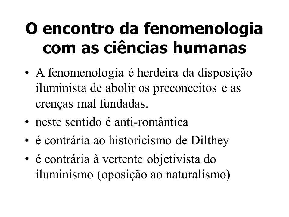 O encontro da fenomenologia com as ciências humanas Objetivo: elucidar estruturas formais (gerais e específicas) da experiência A fenomenologia seria a base de todas as ciências Séc.