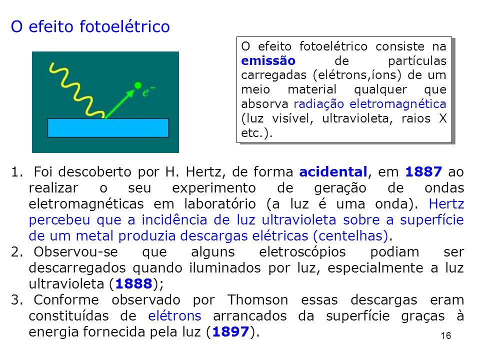 16 O efeito fotoelétrico 1. Foi descoberto por H. Hertz, de forma acidental, em 1887 ao realizar o seu experimento de geração de ondas eletromagnética