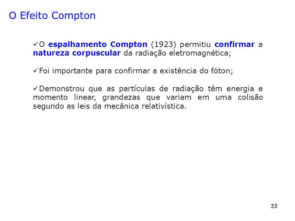 33 O Efeito Compton O espalhamento Compton (1923) permitiu confirmar a natureza corpuscular da radiação eletromagnética; Foi importante para confirmar