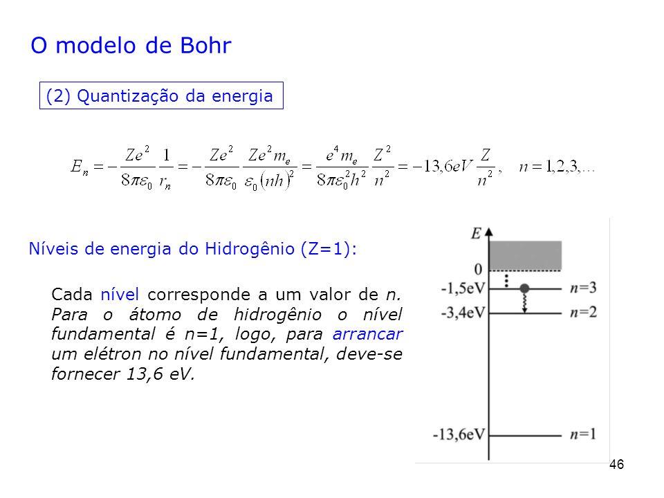 46 O modelo de Bohr (2) Quantização da energia Cada nível corresponde a um valor de n. Para o átomo de hidrogênio o nível fundamental é n=1, logo, par
