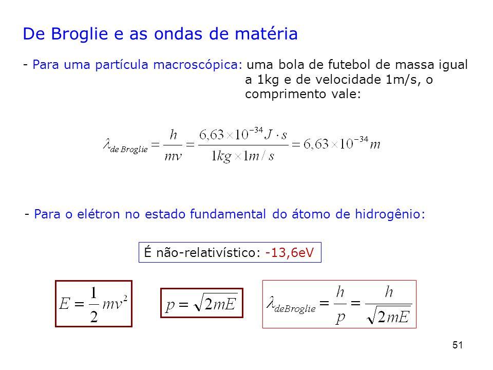 51 De Broglie e as ondas de matéria - Para uma partícula macroscópica: uma bola de futebol de massa igual a 1kg e de velocidade 1m/s, o comprimento va
