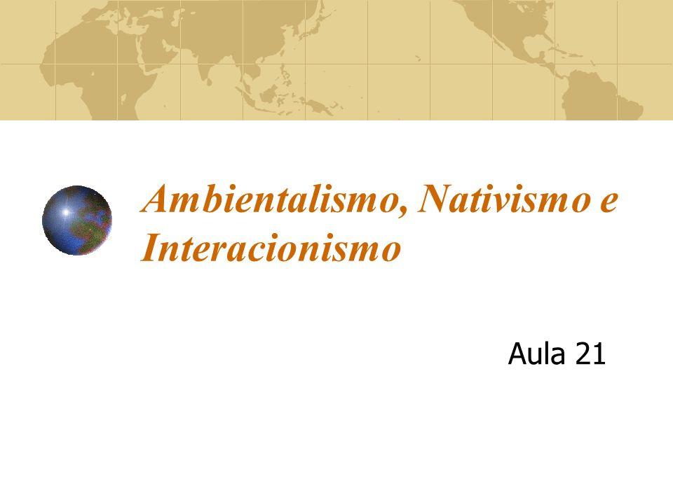 Ambientalismo, Nativismo e Interacionismo Aula 21