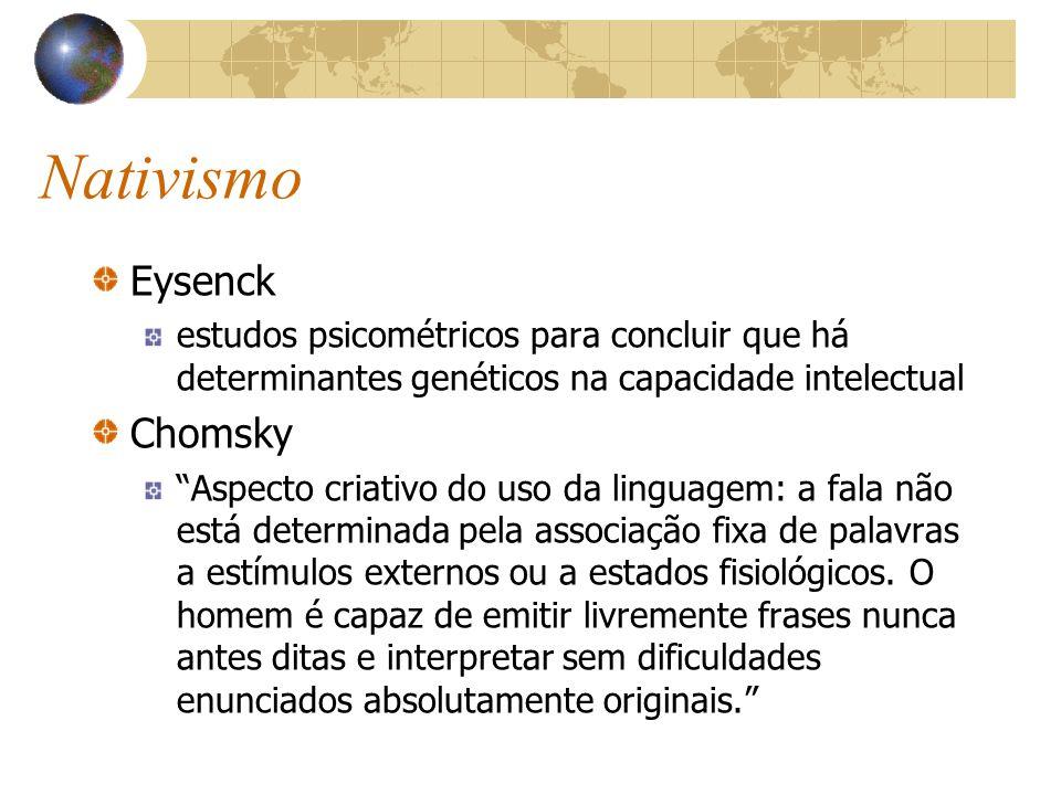 Nativismo Eysenck estudos psicométricos para concluir que há determinantes genéticos na capacidade intelectual Chomsky Aspecto criativo do uso da ling