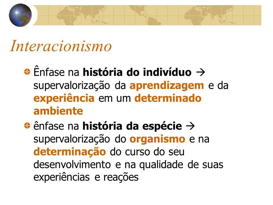 Interacionismo Ênfase na história do indivíduo supervalorização da aprendizagem e da experiência em um determinado ambiente ênfase na história da espé