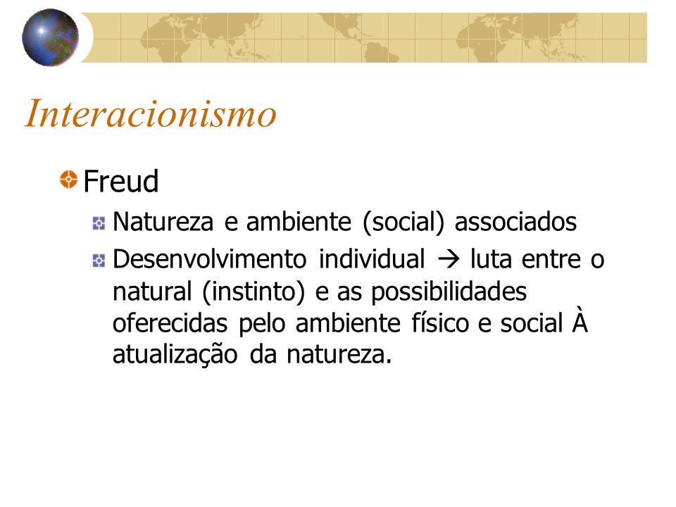 Interacionismo Freud Natureza e ambiente (social) associados Desenvolvimento individual luta entre o natural (instinto) e as possibilidades oferecidas