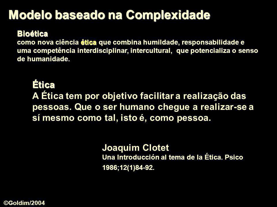 Modelo baseado na Complexidade Joaquim Clotet Una Introducción al tema de la Ética. Psico 1986;12(1)84-92. Ética A Ética tem por objetivo facilitar a