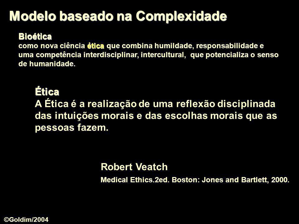 Modelo baseado na Complexidade Robert Veatch Medical Ethics.2ed. Boston: Jones and Bartlett, 2000. Ética A Ética é a realização de uma reflexão discip