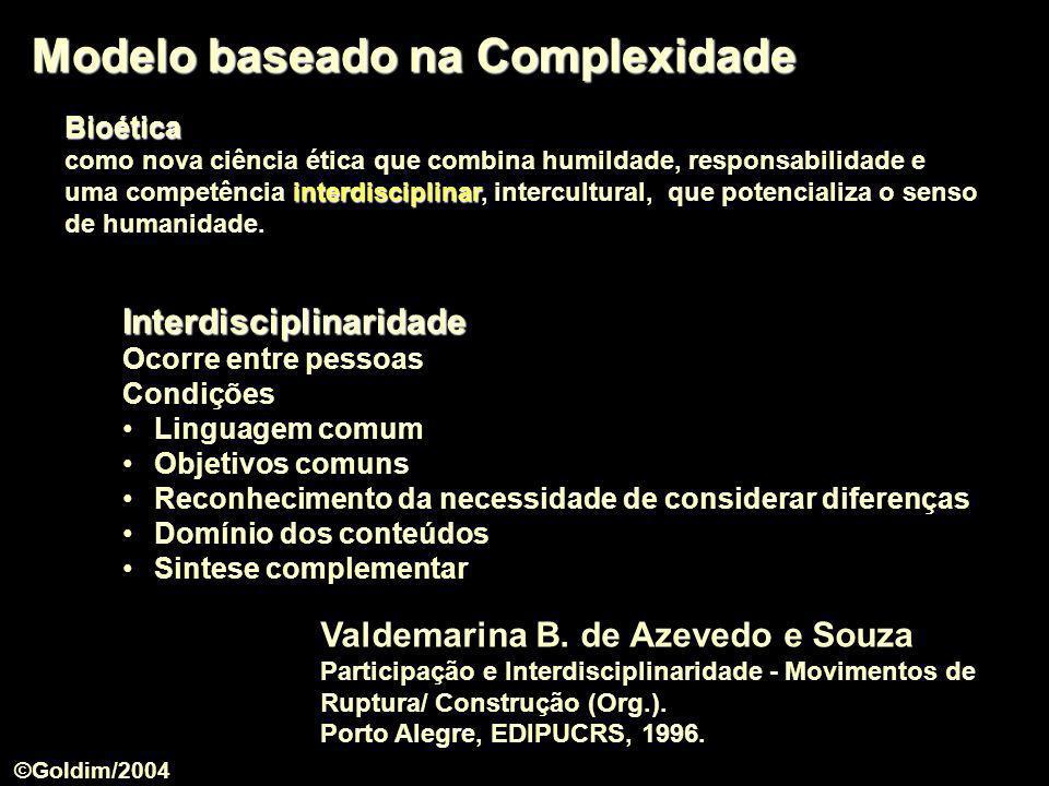Modelo baseado na Complexidade Valdemarina B. de Azevedo e Souza Participação e Interdisciplinaridade - Movimentos de Ruptura/ Construção (Org.). Port