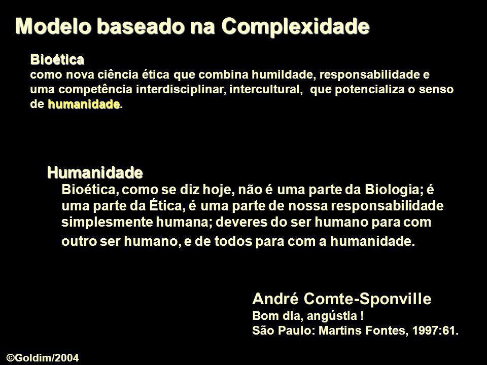 Modelo baseado na Complexidade André Comte-Sponville Bom dia, angústia ! São Paulo: Martins Fontes, 1997:61. Humanidade Humanidade Bioética, como se d