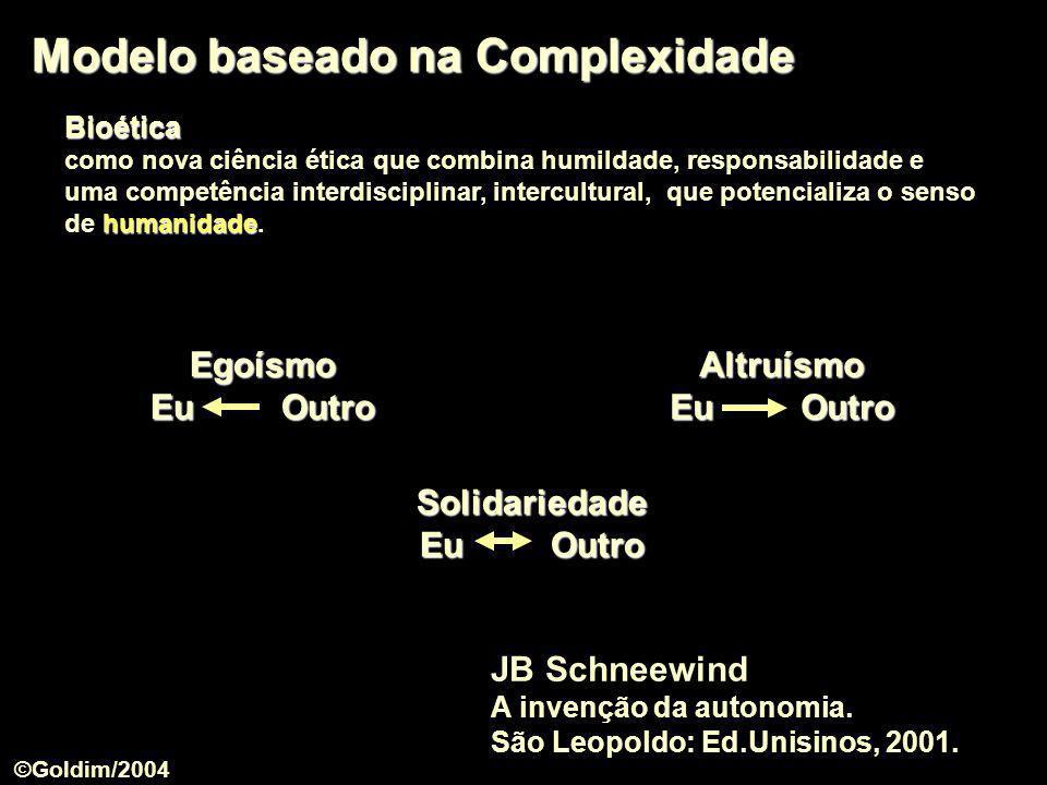 Modelo baseado na Complexidade Bioética como nova ciência ética que combina humildade, responsabilidade e humanidade uma competência interdisciplinar,