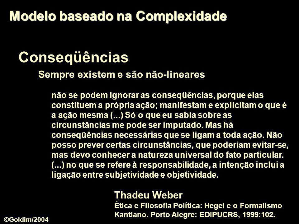 Conseqüências Sempre existem e são não-lineares Modelo baseado na Complexidade não se podem ignorar as conseqüências, porque elas constituem a própria