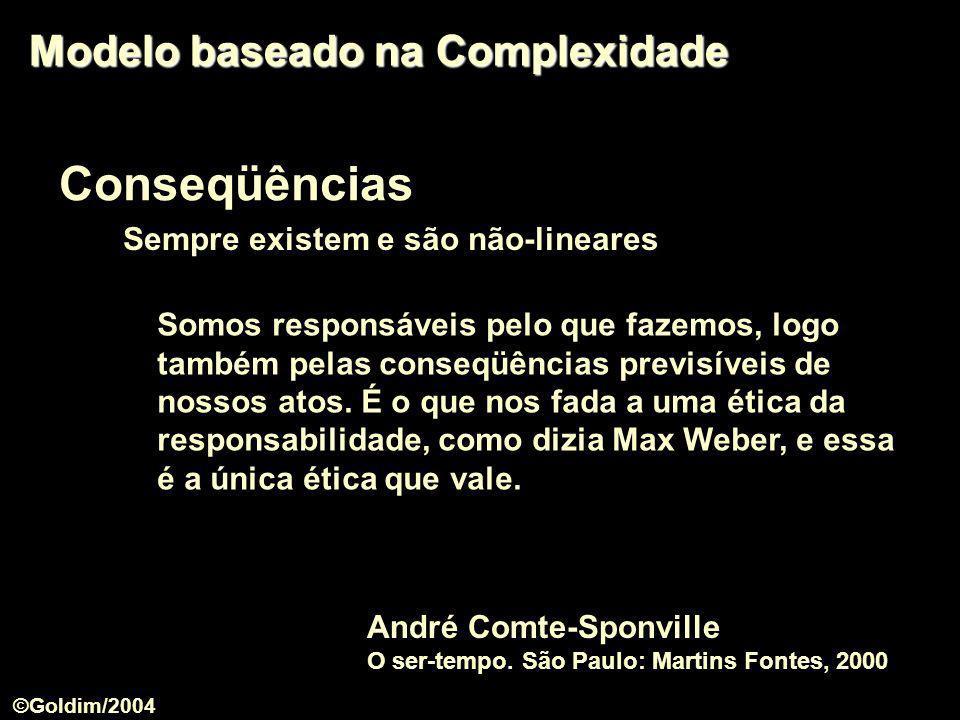 Conseqüências Sempre existem e são não-lineares Modelo baseado na Complexidade Somos responsáveis pelo que fazemos, logo também pelas conseqüências pr