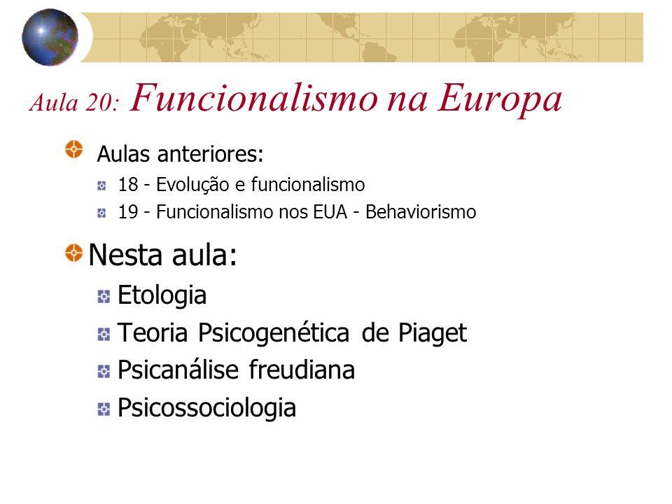 Aula 20: Funcionalismo na Europa Aulas anteriores: 18 - Evolução e funcionalismo 19 - Funcionalismo nos EUA - Behaviorismo Nesta aula: Etologia Teoria