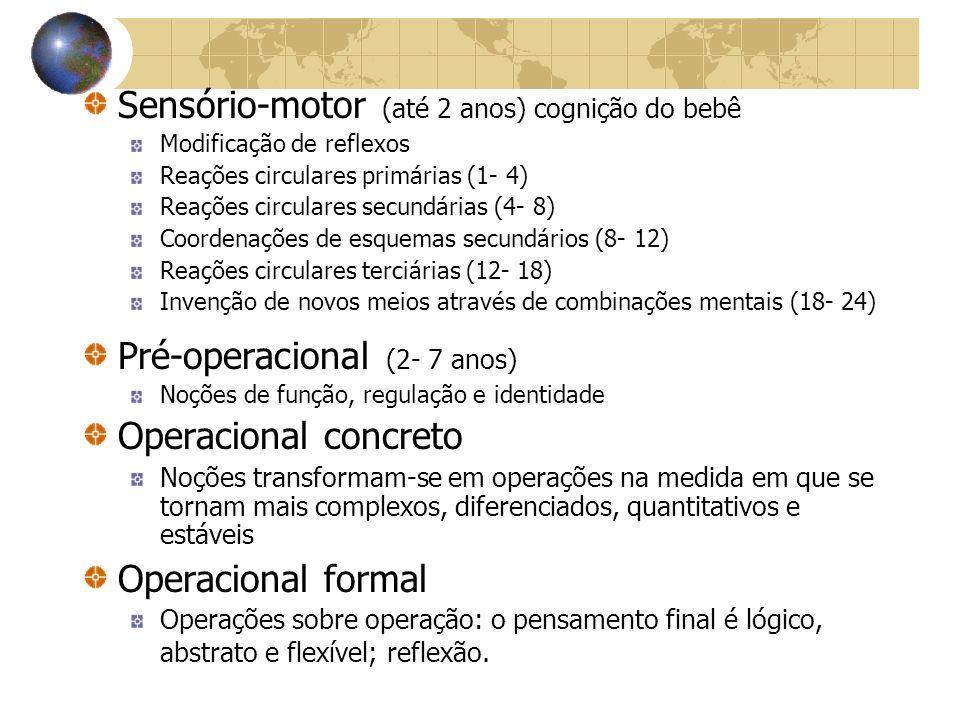 Sensório-motor (até 2 anos) cognição do bebê Modificação de reflexos Reações circulares primárias (1- 4) Reações circulares secundárias (4- 8) Coorden