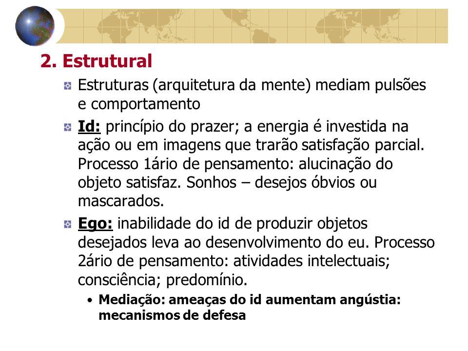 2. Estrutural Estruturas (arquitetura da mente) mediam pulsões e comportamento Id: princípio do prazer; a energia é investida na ação ou em imagens qu