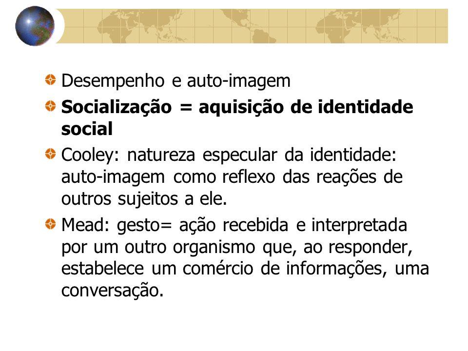 Desempenho e auto-imagem Socialização = aquisição de identidade social Cooley: natureza especular da identidade: auto-imagem como reflexo das reações
