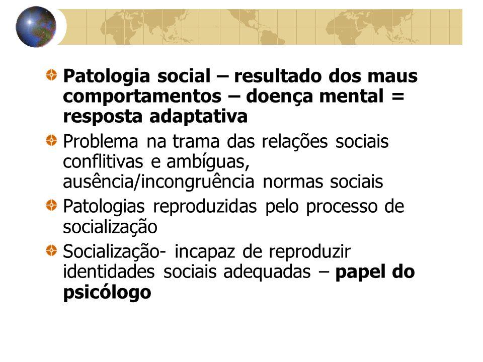 Patologia social – resultado dos maus comportamentos – doença mental = resposta adaptativa Problema na trama das relações sociais conflitivas e ambígu