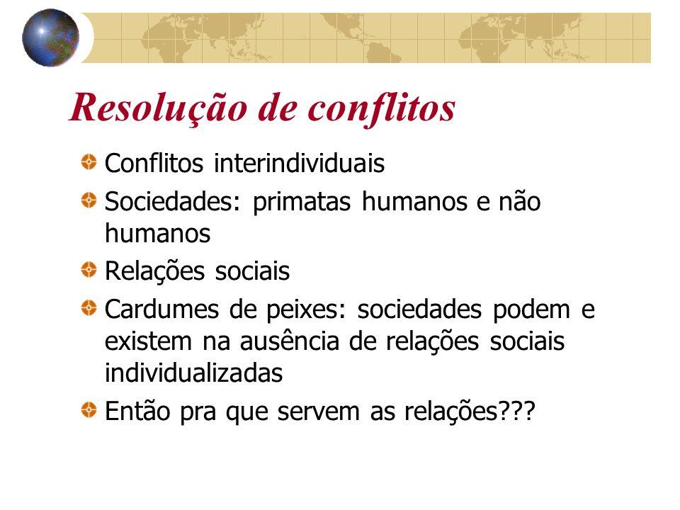 Resolução de conflitos Conflitos interindividuais Sociedades: primatas humanos e não humanos Relações sociais Cardumes de peixes: sociedades podem e e