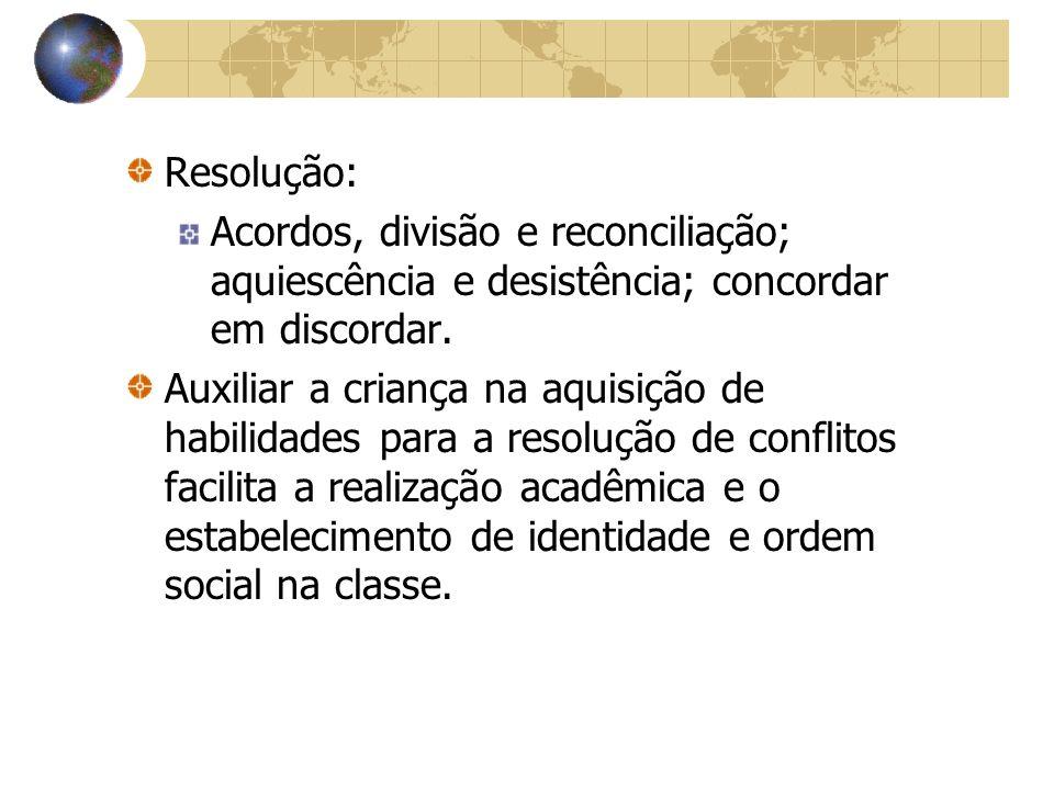 Resolução: Acordos, divisão e reconciliação; aquiescência e desistência; concordar em discordar. Auxiliar a criança na aquisição de habilidades para a
