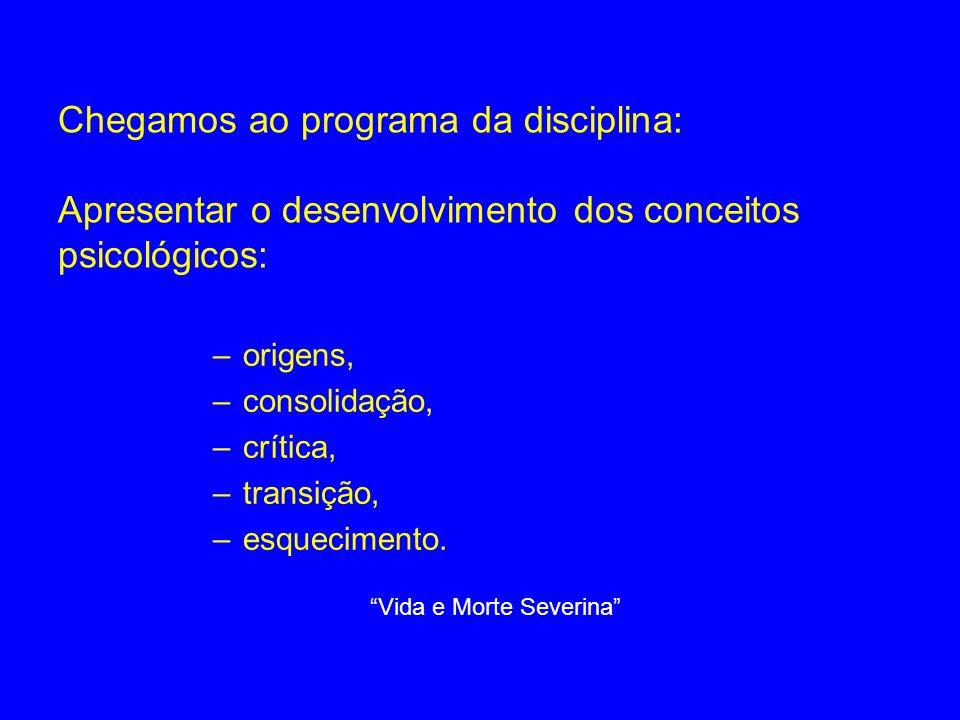 Chegamos ao programa da disciplina: Apresentar o desenvolvimento dos conceitos psicológicos: –origens, –consolidação, –crítica, –transição, –esquecime