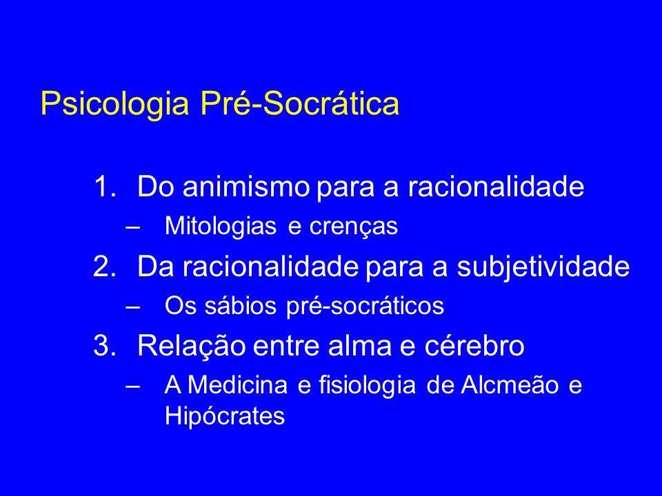 Psicologia Pré-Socrática 1.Do animismo para a racionalidade –Mitologias e crenças 2.Da racionalidade para a subjetividade –Os sábios pré-socráticos 3.