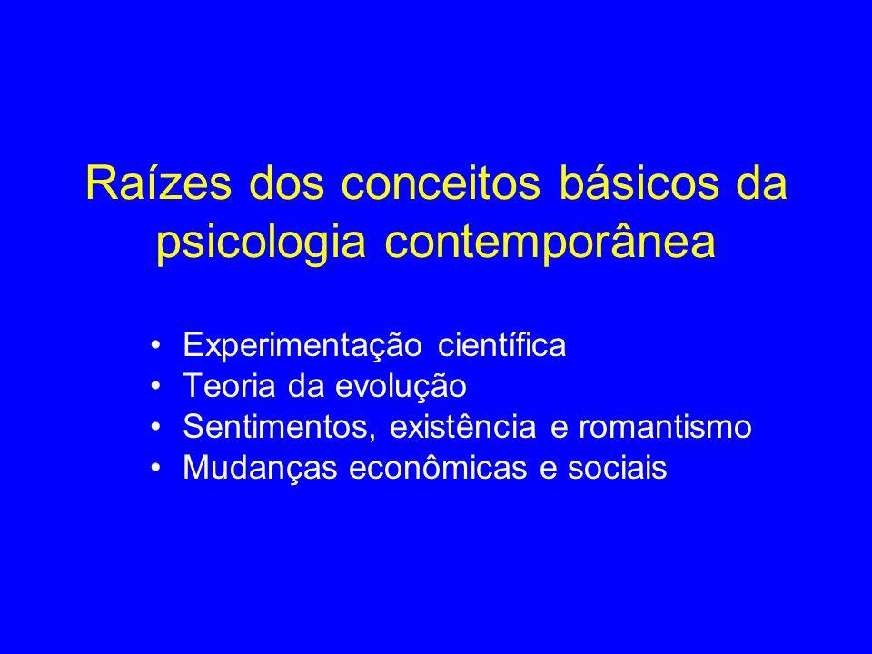 Raízes dos conceitos básicos da psicologia contemporânea Experimentação científica Teoria da evolução Sentimentos, existência e romantismo Mudanças ec
