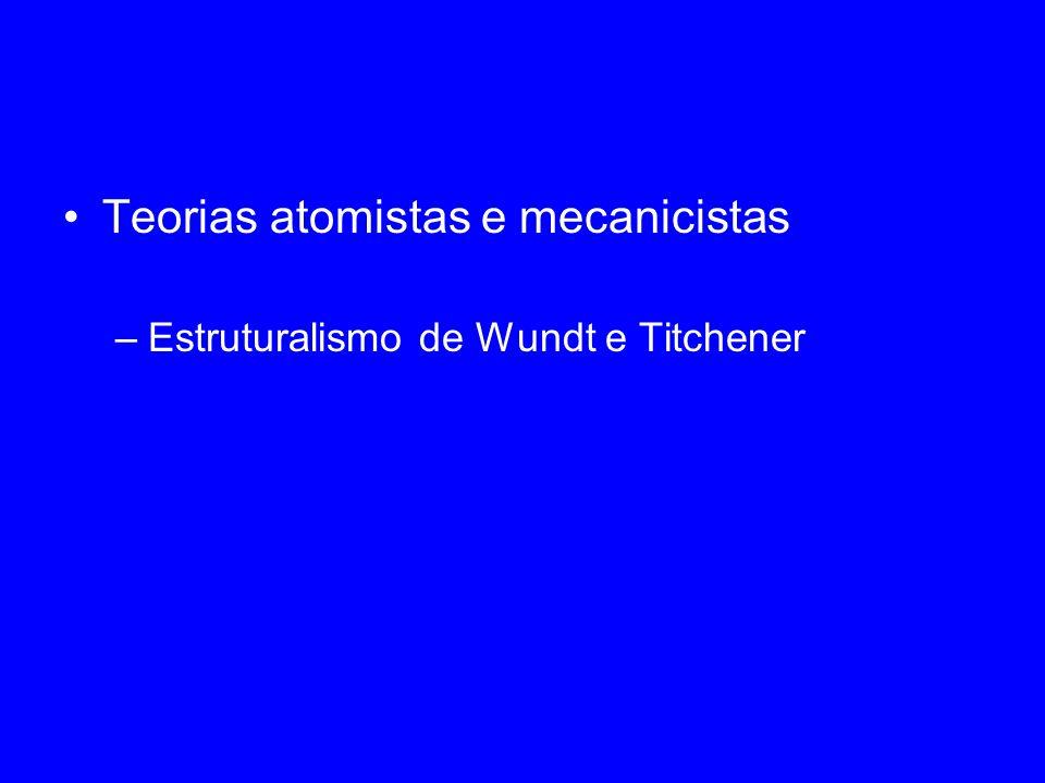 Teorias atomistas e mecanicistas –Estruturalismo de Wundt e Titchener