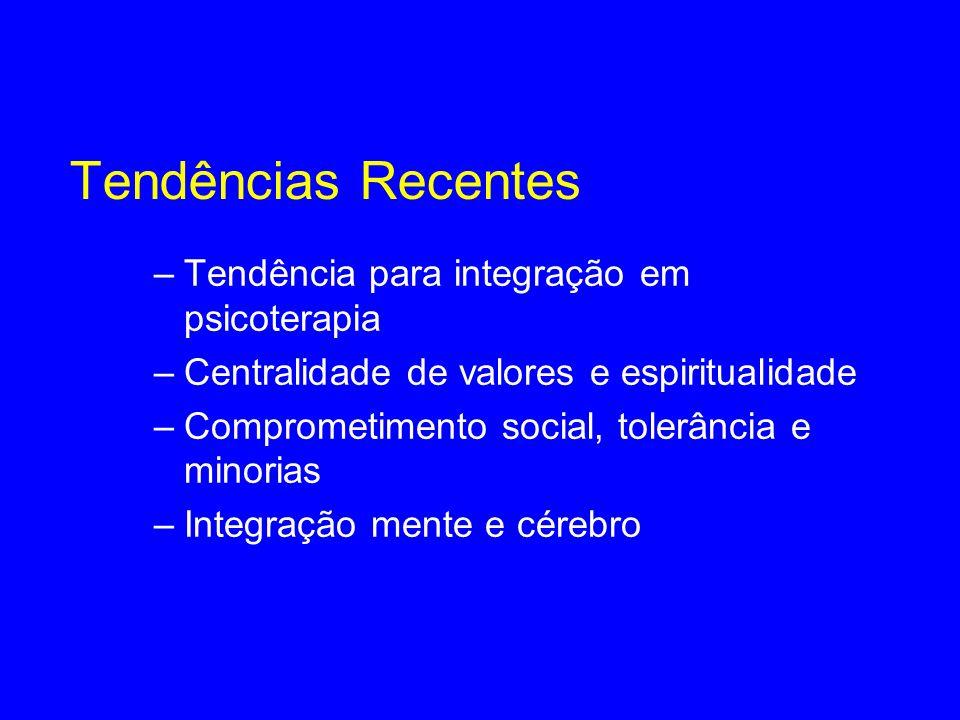 Tendências Recentes –Tendência para integração em psicoterapia –Centralidade de valores e espiritualidade –Comprometimento social, tolerância e minori