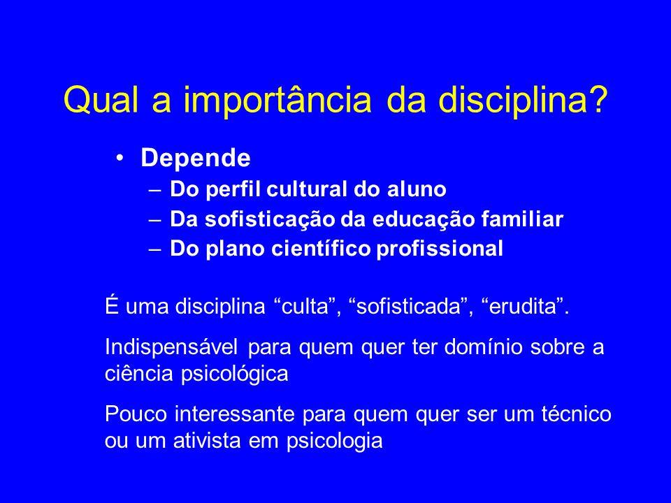 Qual a importância da disciplina? Depende –Do perfil cultural do aluno –Da sofisticação da educação familiar –Do plano científico profissional É uma d