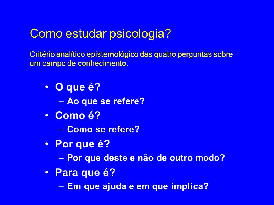 Como estudar psicologia? Critério analítico epistemológico das quatro perguntas sobre um campo de conhecimento: O que é? –Ao que se refere? Como é? –C