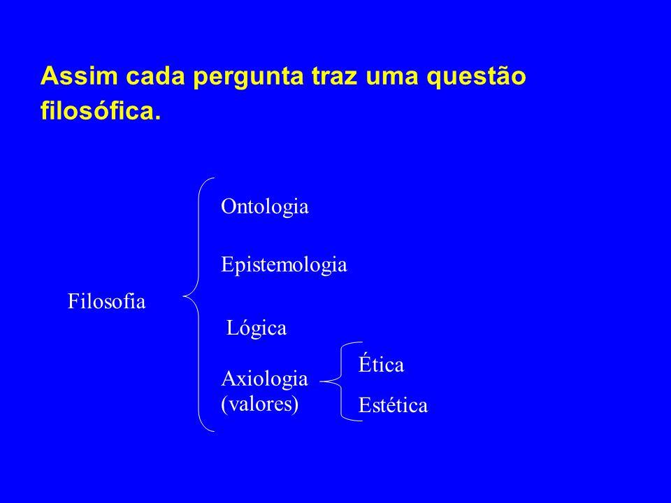 Assim cada pergunta traz uma questão filosófica. Filosofia Ontologia Epistemologia Lógica Axiologia (valores) Ética Estética