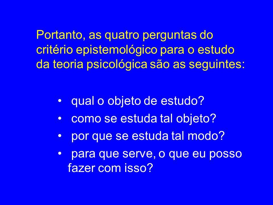 Portanto, as quatro perguntas do critério epistemológico para o estudo da teoria psicológica são as seguintes: qual o objeto de estudo? como se estuda