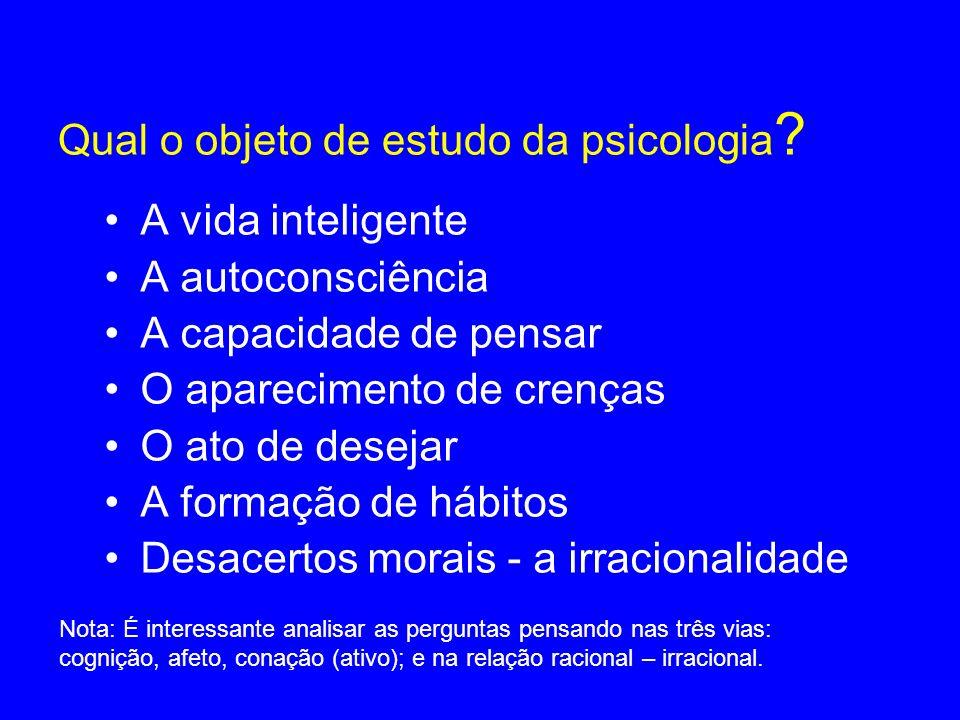 Qual o objeto de estudo da psicologia ? A vida inteligente A autoconsciência A capacidade de pensar O aparecimento de crenças O ato de desejar A forma