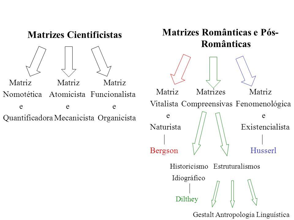 Matrizes Cientificistas Matriz Matriz Matriz Nomotética Atomicista Funcionalista e e e Quantificadora Mecanicista Organicista Matrizes Românticas e Pó