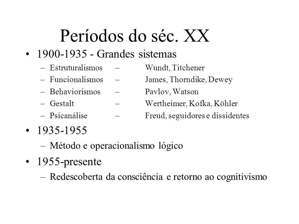 Períodos do séc. XX 1900-1935 - Grandes sistemas –Estruturalismos – Wundt, Titchener –Funcionalismos –James, Thorndike, Dewey –Behaviorismos –Pavlov,